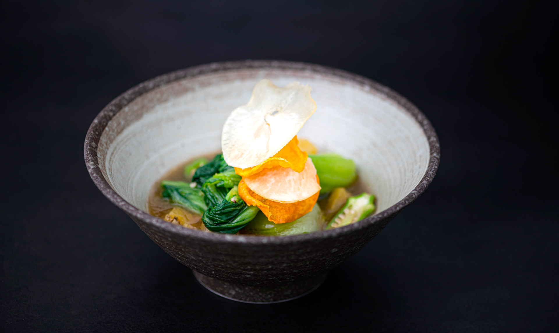 Vegan bok choy broth recipe inspired by African cuisine from Yasomo by Chef Mick Élysée