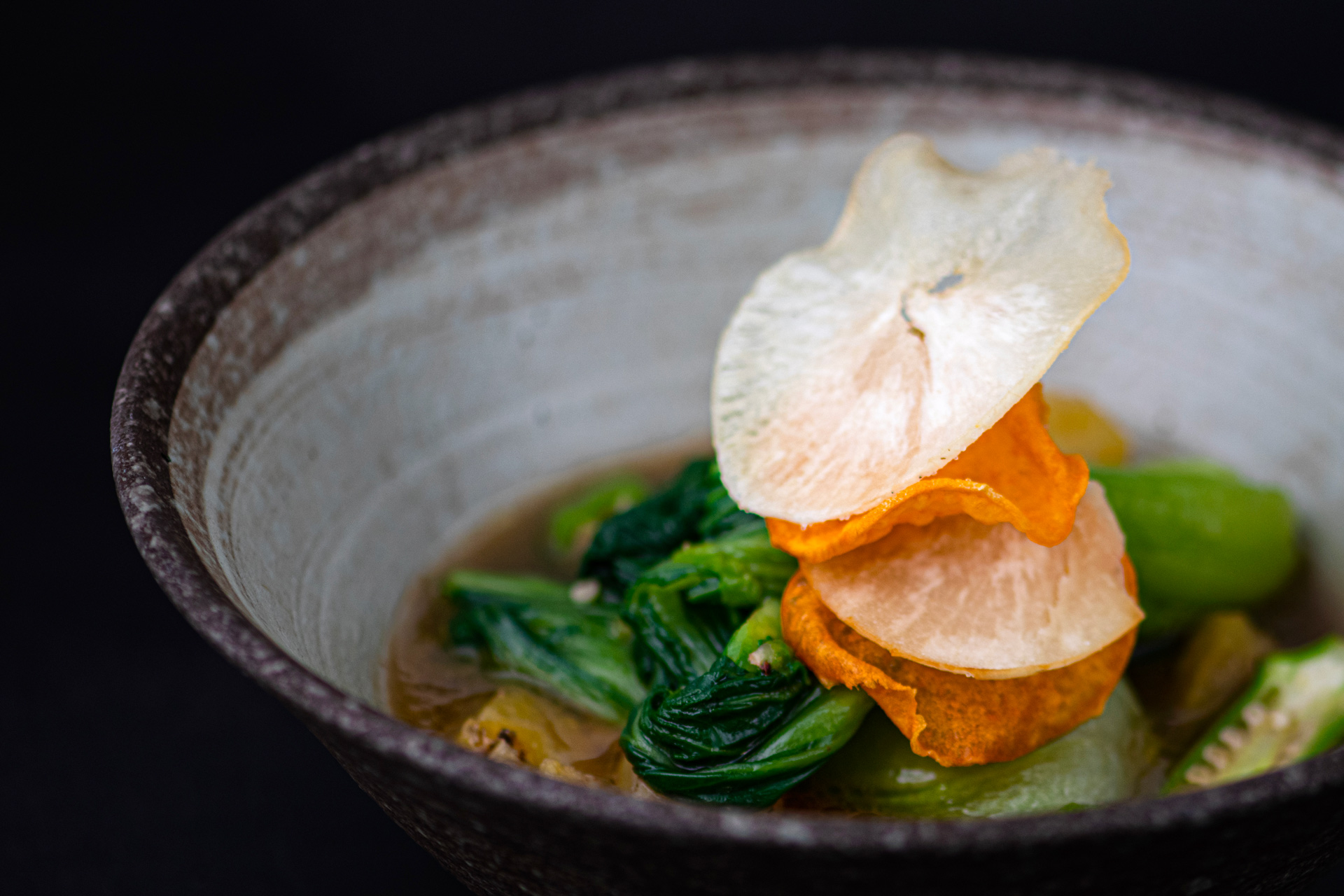 Vegan bok choy broth recipe inspired by African cuisine from Yasomo by Chef Mick Élysée